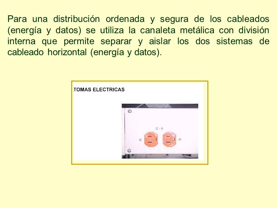 Para una distribución ordenada y segura de los cableados (energía y datos) se utiliza la canaleta metálica con división interna que permite separar y