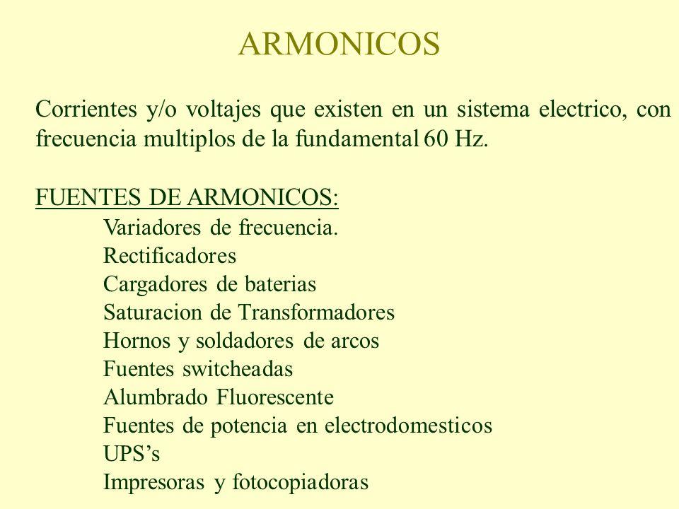 ARMONICOS Corrientes y/o voltajes que existen en un sistema electrico, con frecuencia multiplos de la fundamental 60 Hz. FUENTES DE ARMONICOS: Variado