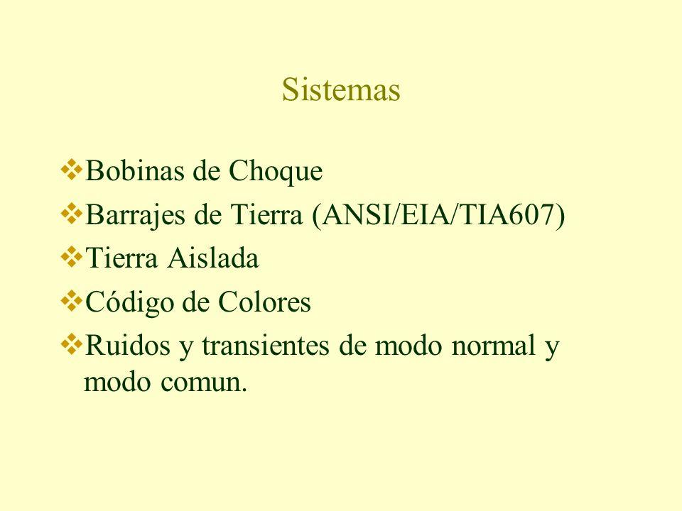 Sistemas Bobinas de Choque Barrajes de Tierra (ANSI/EIA/TIA607) Tierra Aislada Código de Colores Ruidos y transientes de modo normal y modo comun.