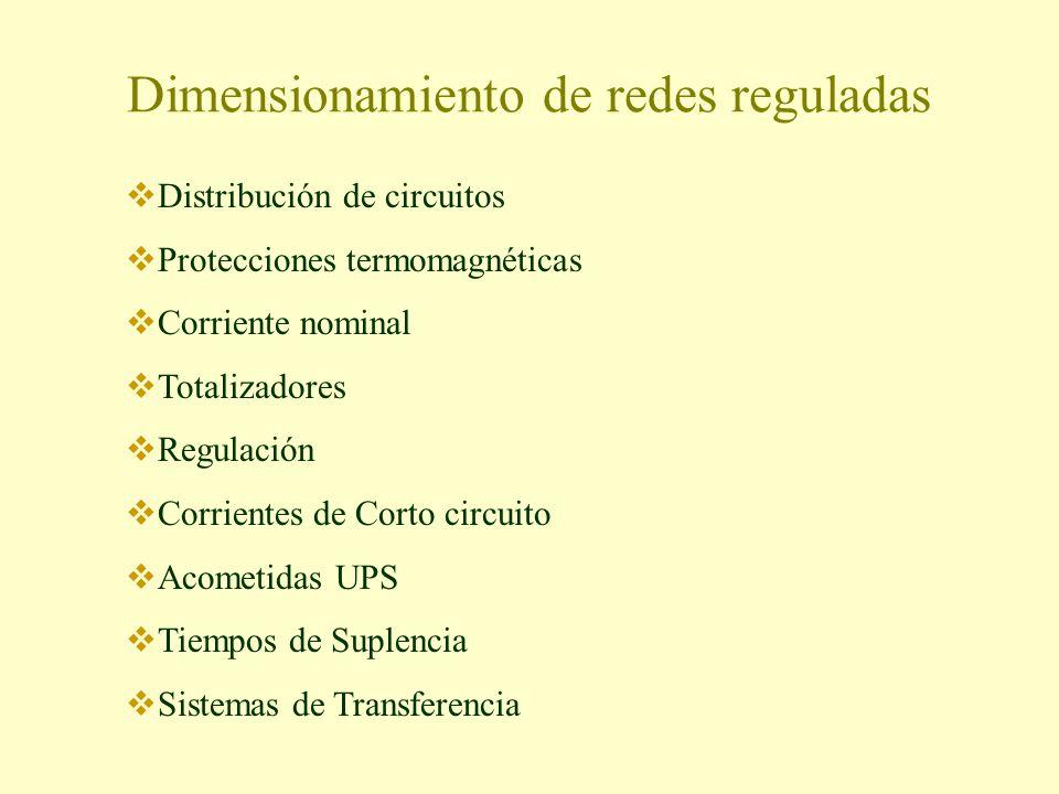 Dimensionamiento de redes reguladas Distribución de circuitos Protecciones termomagnéticas Corriente nominal Totalizadores Regulación Corrientes de Co