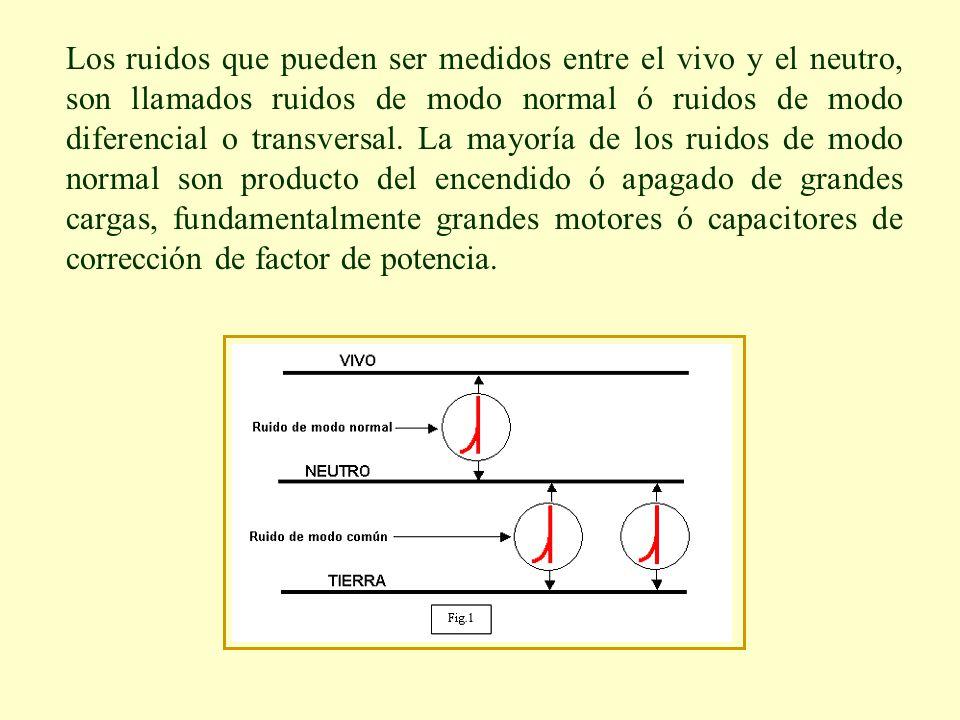 Los ruidos que pueden ser medidos entre el vivo y el neutro, son llamados ruidos de modo normal ó ruidos de modo diferencial o transversal. La mayoría
