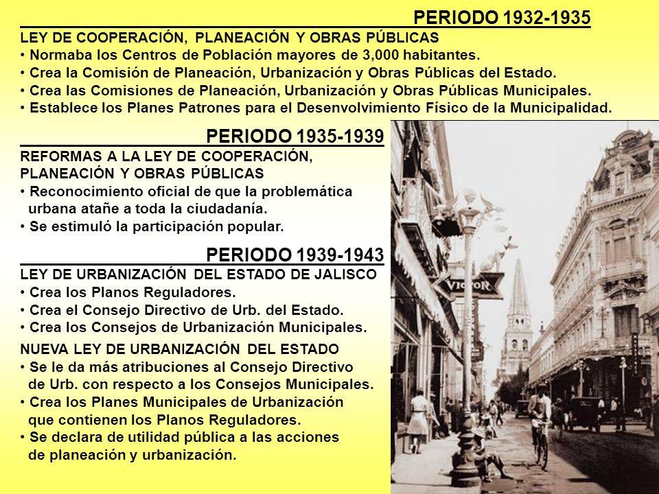 PERIODO 1932-1935 LEY DE COOPERACIÓN, PLANEACIÓN Y OBRAS PÚBLICAS Normaba los Centros de Población mayores de 3,000 habitantes. Crea la Comisión de Pl