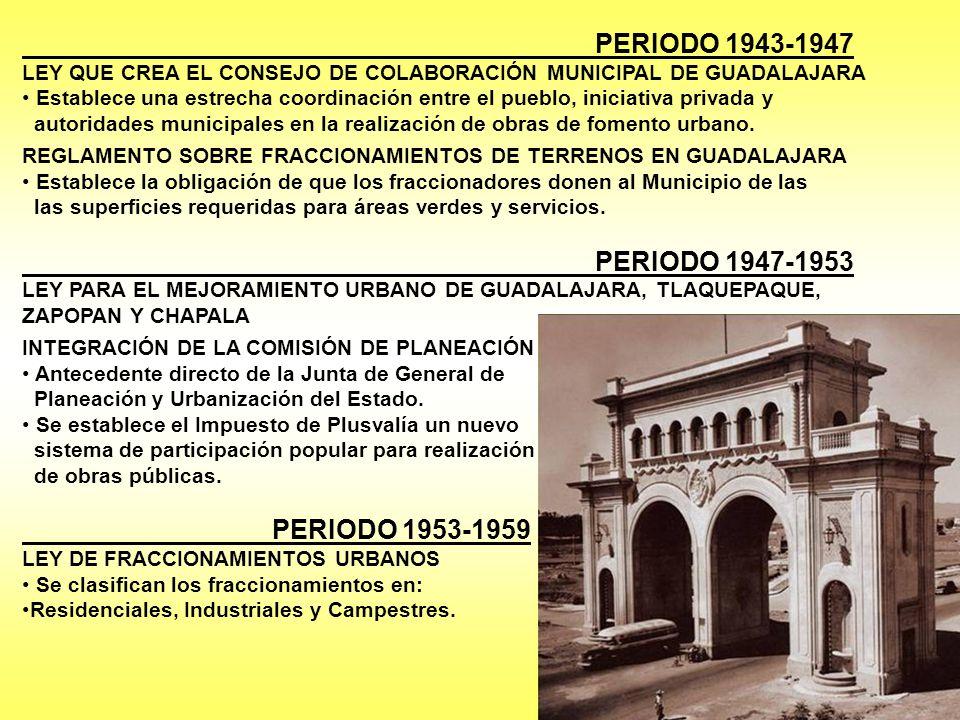 PERIODO 1943-1947 LEY QUE CREA EL CONSEJO DE COLABORACIÓN MUNICIPAL DE GUADALAJARA Establece una estrecha coordinación entre el pueblo, iniciativa privada y autoridades municipales en la realización de obras de fomento urbano.