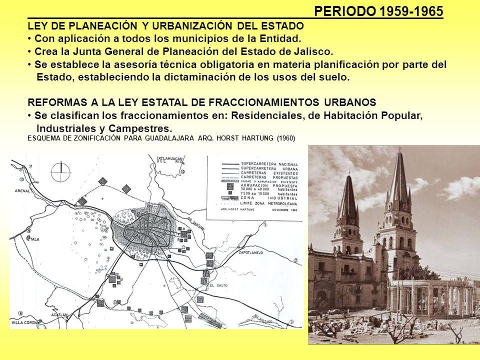 PERIODO 1965-1971 LEY QUE DECLARA DE UTILIDAD PÚBLICA LA ZONIFICACIÓN DE GUADALAJARA REFORMAS A LA LEY DE ESTATAL DE FRACCIONAMIENTOS URBANOS Se amplia la acción urbanizadora al medio rural.