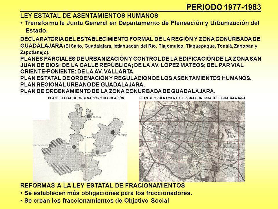 PERIODO 1977-1983 LEY ESTATAL DE ASENTAMIENTOS HUMANOS Transforma la Junta General en Departamento de Planeación y Urbanización del Estado. DECLARATOR