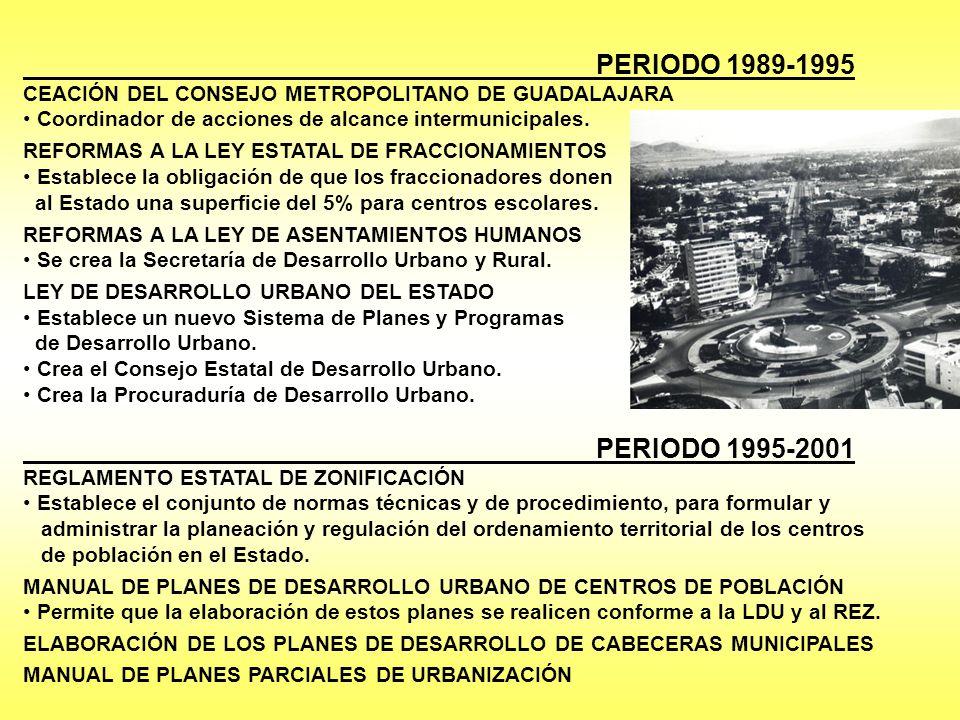 PERIODO 1989-1995 CEACIÓN DEL CONSEJO METROPOLITANO DE GUADALAJARA Coordinador de acciones de alcance intermunicipales. REFORMAS A LA LEY ESTATAL DE F
