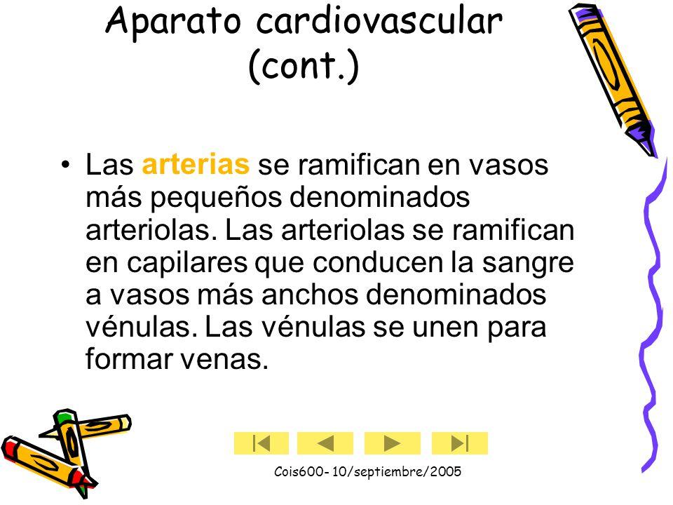 Cois600- 10/septiembre/2005 Aparato cardiovascular (cont.) Las arterias transportan sangre rica en oxígeno del corazón y las venas transportan sangre pobre en oxígeno al corazón.