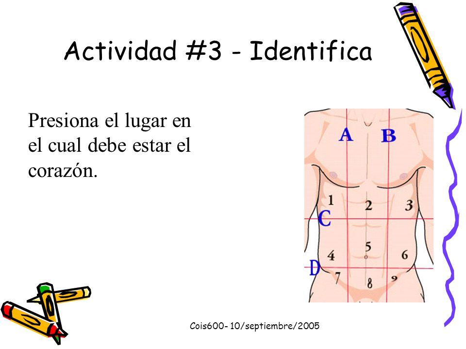 Cois600- 10/septiembre/2005 Actividad #2 Selección múltiple 1.Las cavidades superiores se denominan: a. b. c. d. Aurícula izquierda y Aurícula derecha