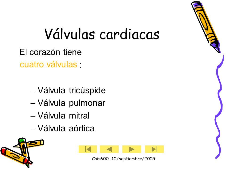 Cois600- 10/septiembre/2005 El corazón (cont.) El corazón tiene cuatro cavidades. Las cavidades superiores se denominan aurícula izquierda y aurícula