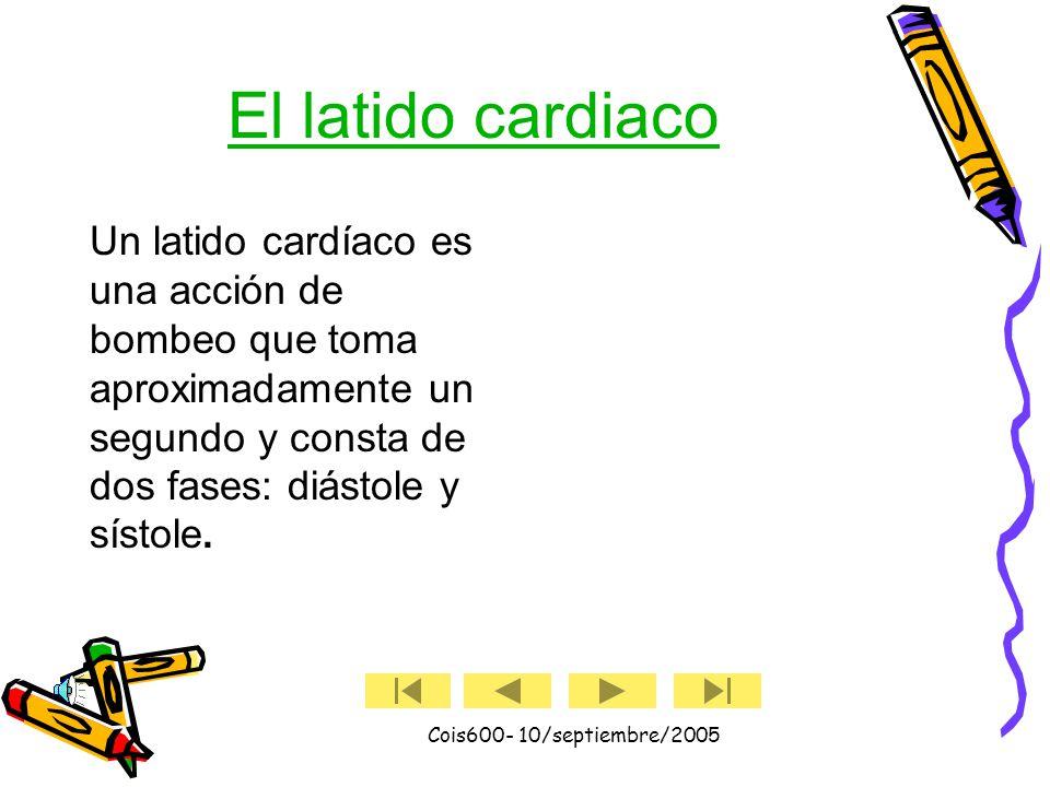 Cois600- 10/septiembre/2005 Válvulas cardiacas El corazón tiene : –Válvula tricúspide –Válvula pulmonar –Válvula mitral –Válvula aórtica cuatro válvul