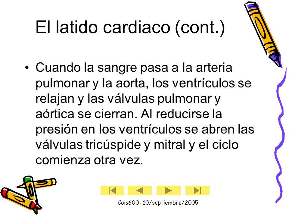 Cois600- 10/septiembre/2005 El latido cardiaco Un latido cardíaco es una acción de bombeo que toma aproximadamente un segundo y consta de dos fases: diástole y sístole.