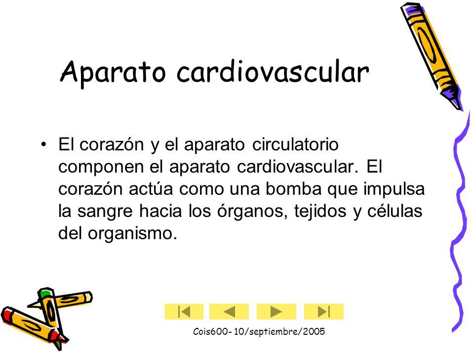 Cois600- 10/septiembre/2005 El latido cardiaco (cont.) Cuando la sangre pasa a la arteria pulmonar y la aorta, los ventrículos se relajan y las válvulas pulmonar y aórtica se cierran.