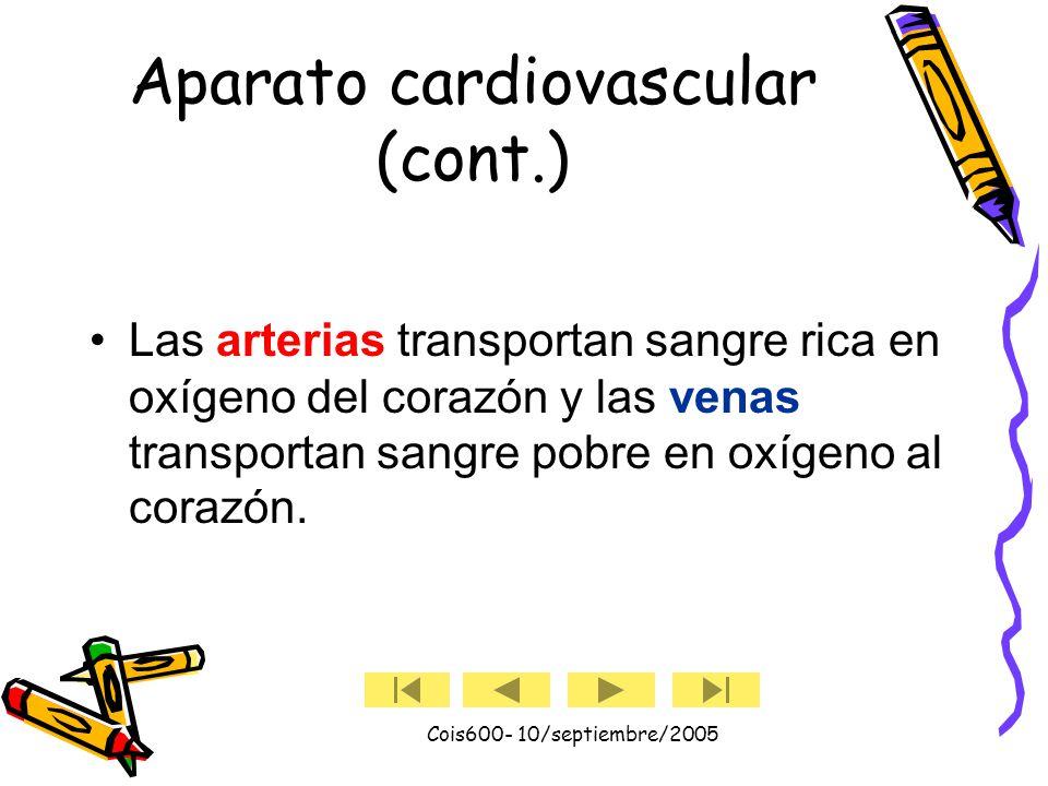 Cois600- 10/septiembre/2005 Aparato cardiovascular El corazón y el aparato circulatorio componen el aparato cardiovascular. El corazón actúa como una