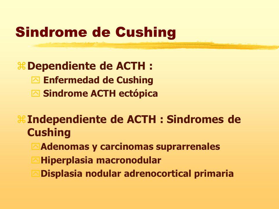 Sindrome de Cushing zDependiente de ACTH : y Enfermedad de Cushing y Sindrome ACTH ectópica zIndependiente de ACTH : Sindromes de Cushing yAdenomas y carcinomas suprarrenales yHiperplasia macronodular yDisplasia nodular adrenocortical primaria