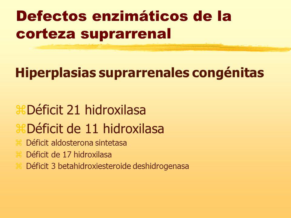 Defectos enzimáticos de la corteza suprarrenal Hiperplasias suprarrenales congénitas zDéficit 21 hidroxilasa zDéficit de 11 hidroxilasa zDéficit aldosterona sintetasa zDéficit de 17 hidroxilasa zDéficit 3 betahidroxiesteroide deshidrogenasa