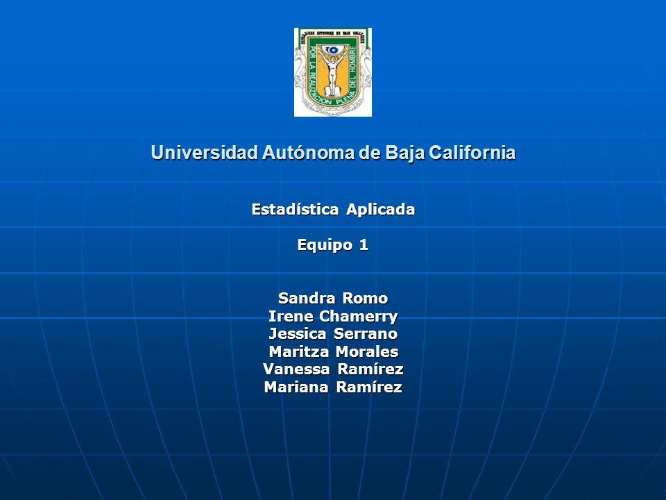 Universidad Autónoma de Baja California Estadística Aplicada Equipo 1 Sandra Romo Irene Chamerry Jessica Serrano Maritza Morales Vanessa Ramírez Mariana Ramírez