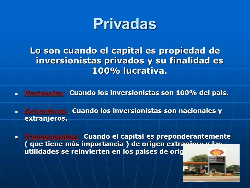 Privadas Lo son cuando el capital es propiedad de inversionistas privados y su finalidad es 100% lucrativa.