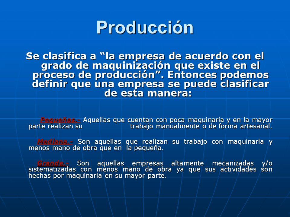 Producción Se clasifica a la empresa de acuerdo con el grado de maquinización que existe en el proceso de producción.