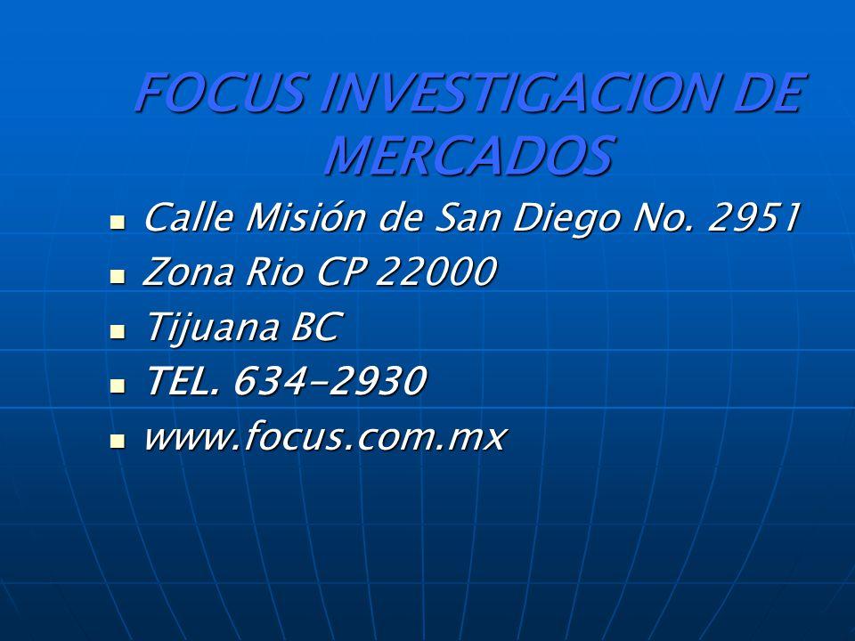 FOCUS INVESTIGACION DE MERCADOS Calle Misión de San Diego No.