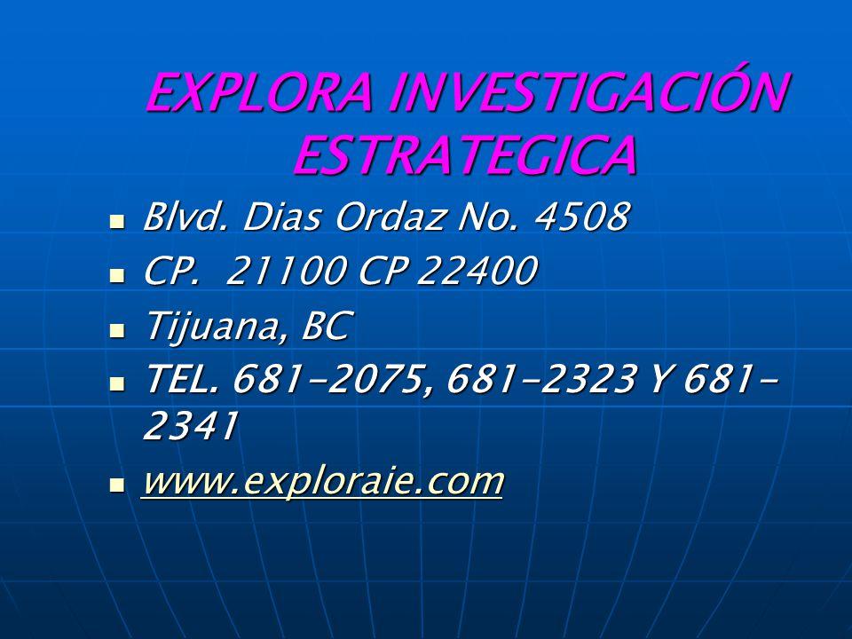 EXPLORA INVESTIGACIÓN ESTRATEGICA Blvd.Dias Ordaz No.