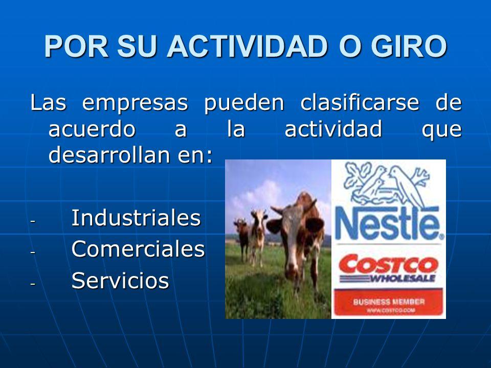 POR SU ACTIVIDAD O GIRO Las empresas pueden clasificarse de acuerdo a la actividad que desarrollan en: - Industriales - Comerciales - Servicios