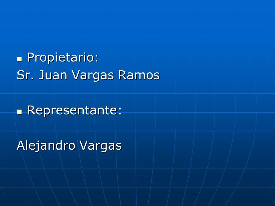 Propietario: Propietario: Sr. Juan Vargas Ramos Representante: Representante: Alejandro Vargas