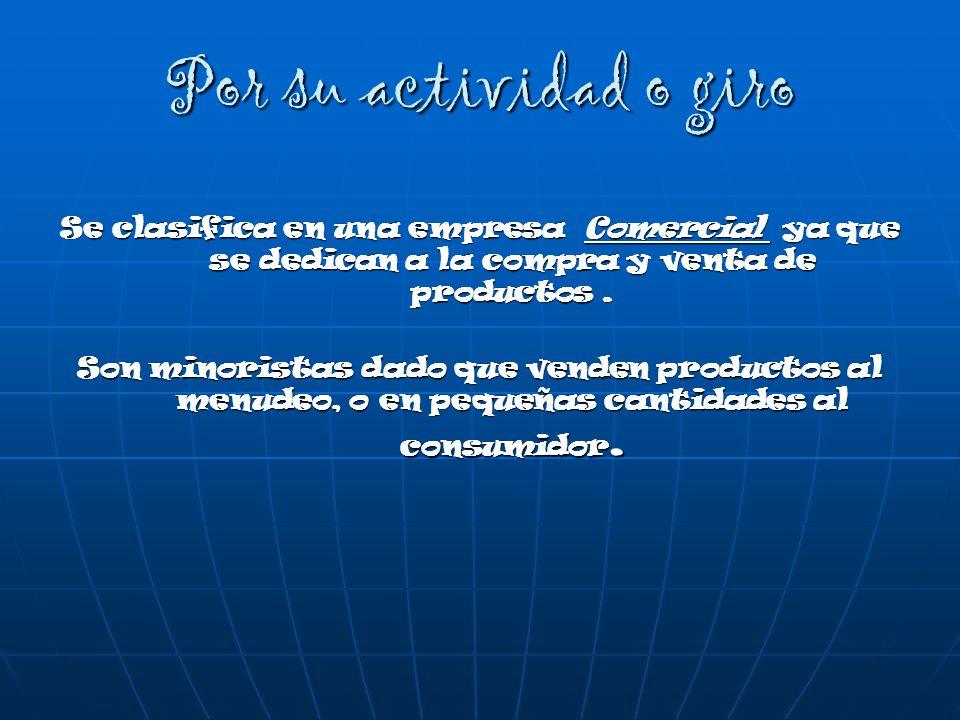 Por su actividad o giro Se clasifica en una empresa Comercial ya que se dedican a la compra y venta de productos.