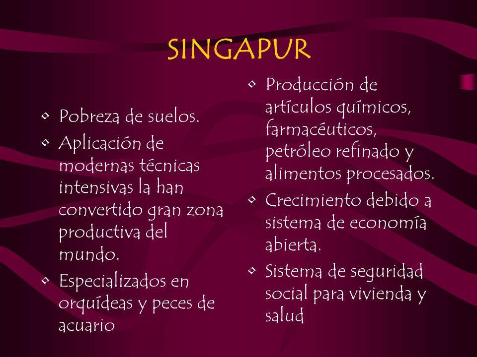 SINGAPUR Pobreza de suelos. Aplicación de modernas técnicas intensivas la han convertido gran zona productiva del mundo. Especializados en orquídeas y