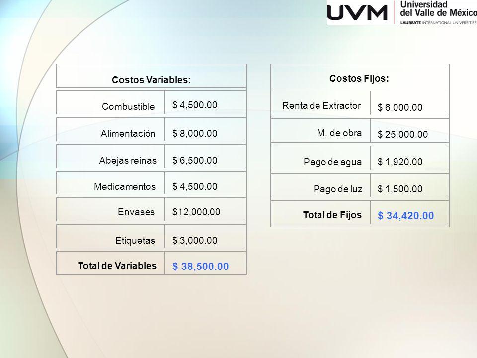 Costos Variables: Combustible $ 4,500.00 Alimentación $ 8,000.00 Abejas reinas$ 6,500.00 Medicamentos $ 4,500.00 Envases $12,000.00 Etiquetas $ 3,000.
