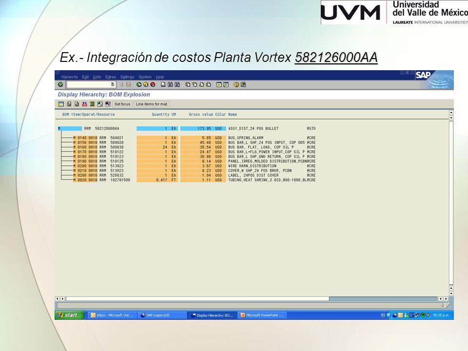 582126000AA Ex.- Integración de costos Planta Vortex 582126000AA