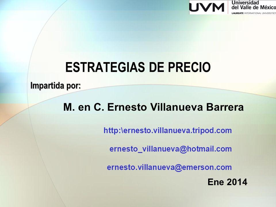 ESTRATEGIAS DE PRECIO Impartida por: M. en C. Ernesto Villanueva Barrera http:\ernesto.villanueva.tripod.com ernesto_villanueva@hotmail.com ernesto.vi