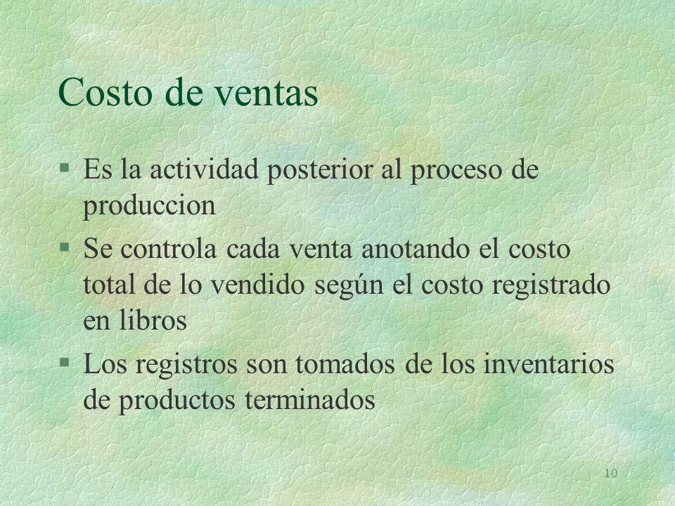 10 Costo de ventas §Es la actividad posterior al proceso de produccion §Se controla cada venta anotando el costo total de lo vendido según el costo re