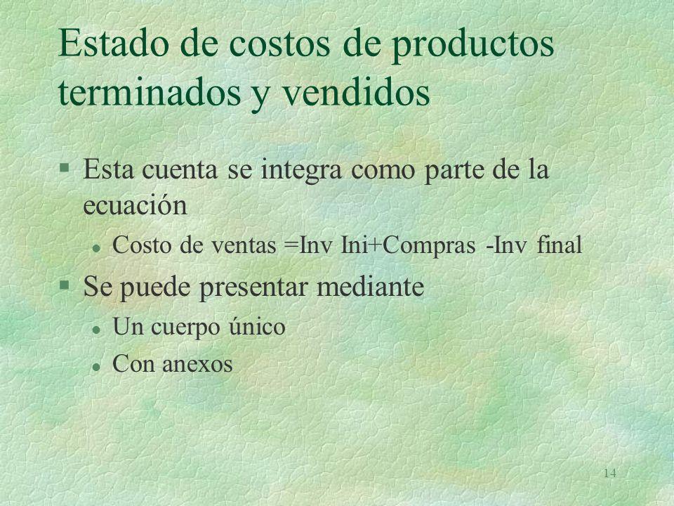14 Estado de costos de productos terminados y vendidos §Esta cuenta se integra como parte de la ecuación l Costo de ventas =Inv Ini+Compras -Inv final §Se puede presentar mediante l Un cuerpo único l Con anexos