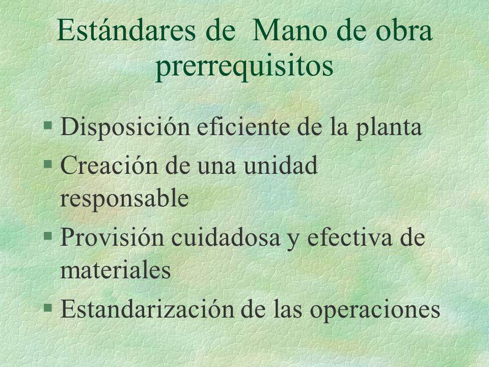 Estándares de Mano de obra prerrequisitos §Disposición eficiente de la planta §Creación de una unidad responsable §Provisión cuidadosa y efectiva de m
