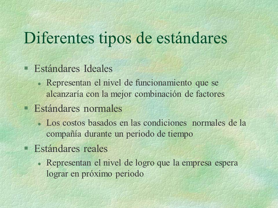 Diferentes tipos de estándares §Estándares Ideales l Representan el nivel de funcionamiento que se alcanzaría con la mejor combinación de factores §Es