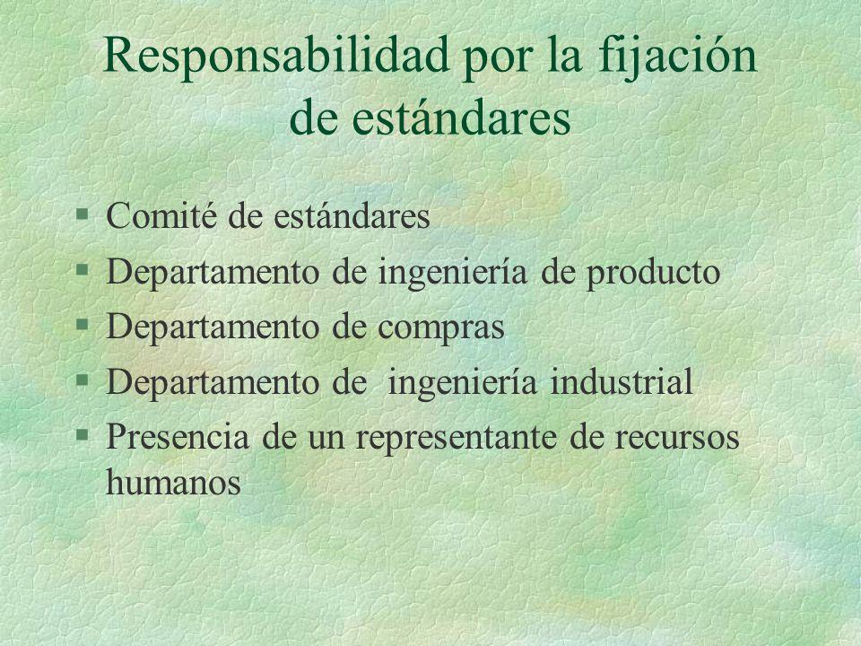 Responsabilidad por la fijación de estándares §Comité de estándares §Departamento de ingeniería de producto §Departamento de compras §Departamento de