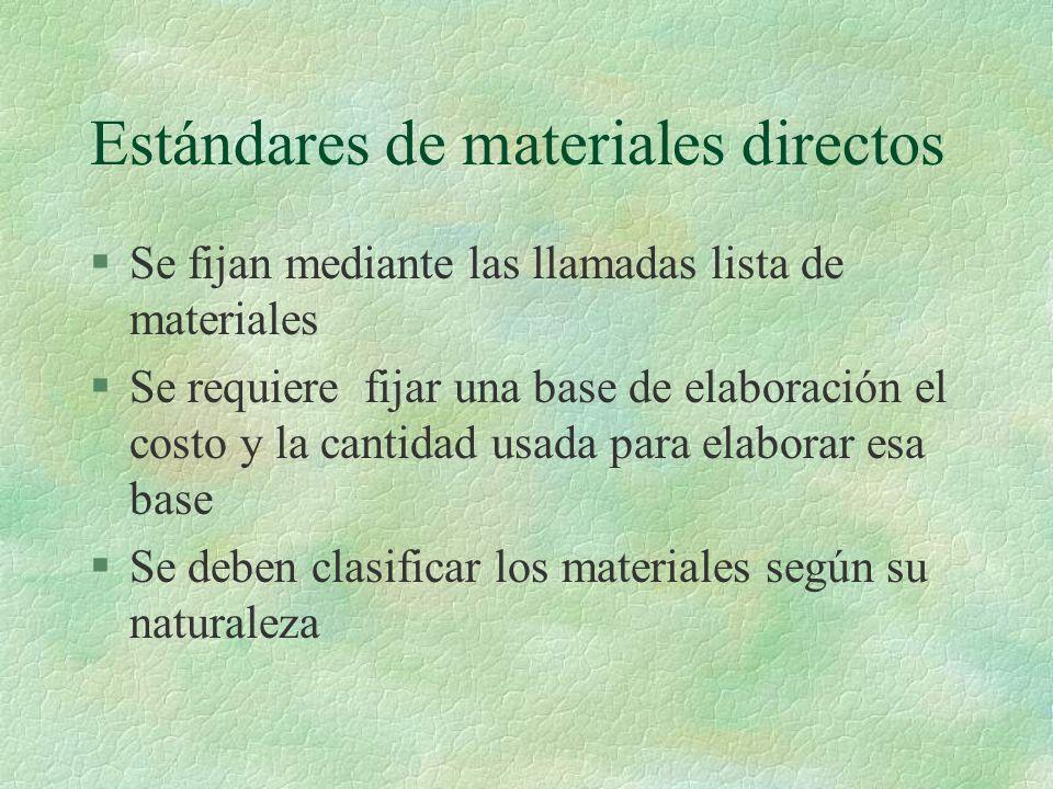 Estándares de materiales directos §Se fijan mediante las llamadas lista de materiales §Se requiere fijar una base de elaboración el costo y la cantida