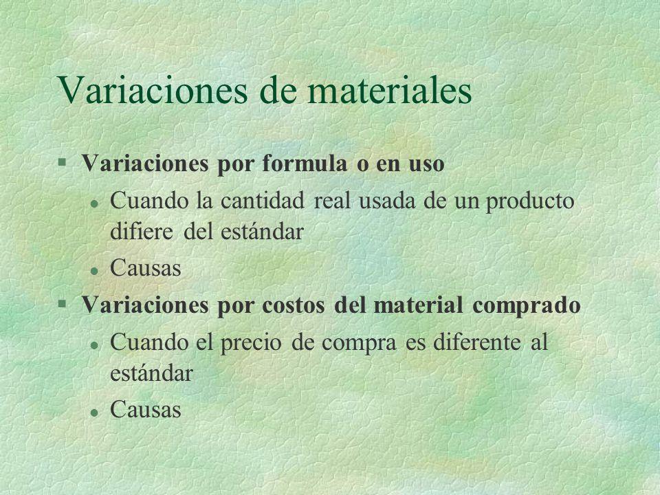 Variaciones de materiales §Variaciones por formula o en uso l Cuando la cantidad real usada de un producto difiere del estándar l Causas §Variaciones