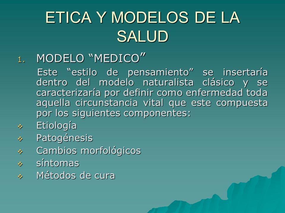 ETICA Y MODELOS DE LA SALUD 1. MODELO MEDICO 1. MODELO MEDICO Este estilo de pensamiento se insertaría dentro del modelo naturalista clásico y se cara