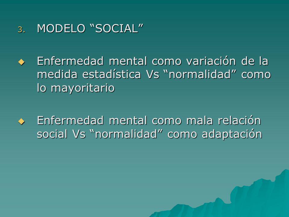 3. MODELO SOCIAL Enfermedad mental como variación de la medida estadística Vs normalidad como lo mayoritario Enfermedad mental como variación de la me