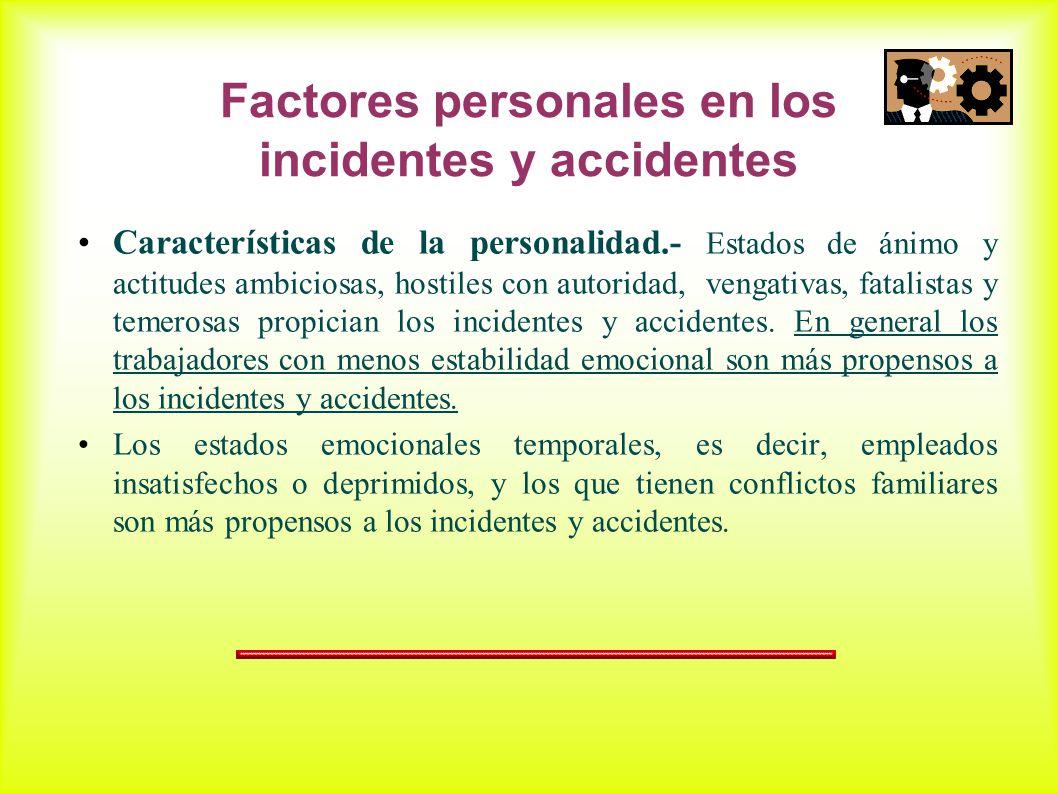 Factores personales en los incidentes y accidentes Características de la personalidad.- Estados de ánimo y actitudes ambiciosas, hostiles con autoridad, vengativas, fatalistas y temerosas propician los incidentes y accidentes.