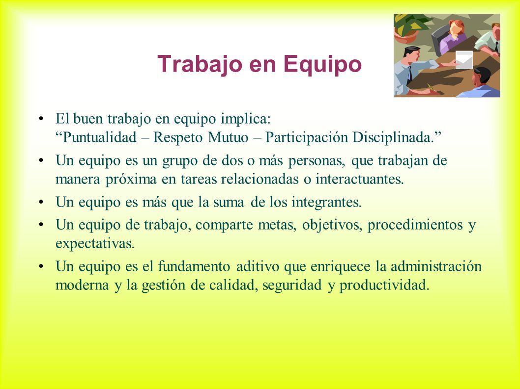 Trabajo en Equipo El buen trabajo en equipo implica: Puntualidad – Respeto Mutuo – Participación Disciplinada.