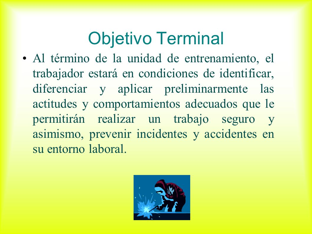 Objetivo Terminal Al término de la unidad de entrenamiento, el trabajador estará en condiciones de identificar, diferenciar y aplicar preliminarmente
