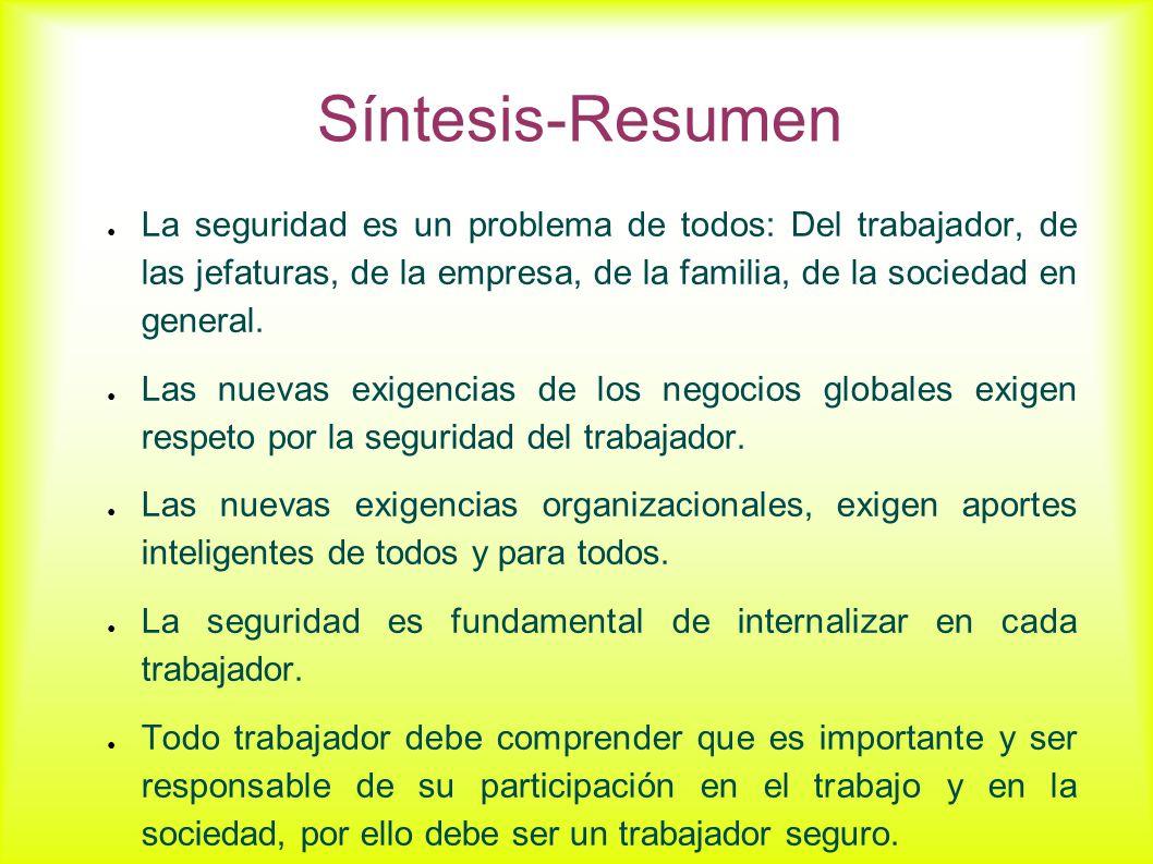 Síntesis-Resumen La seguridad es un problema de todos: Del trabajador, de las jefaturas, de la empresa, de la familia, de la sociedad en general. Las