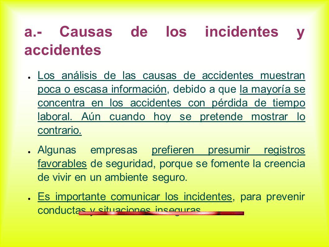 a.- Causas de los incidentes y accidentes Los análisis de las causas de accidentes muestran poca o escasa información, debido a que la mayoría se concentra en los accidentes con pérdida de tiempo laboral.