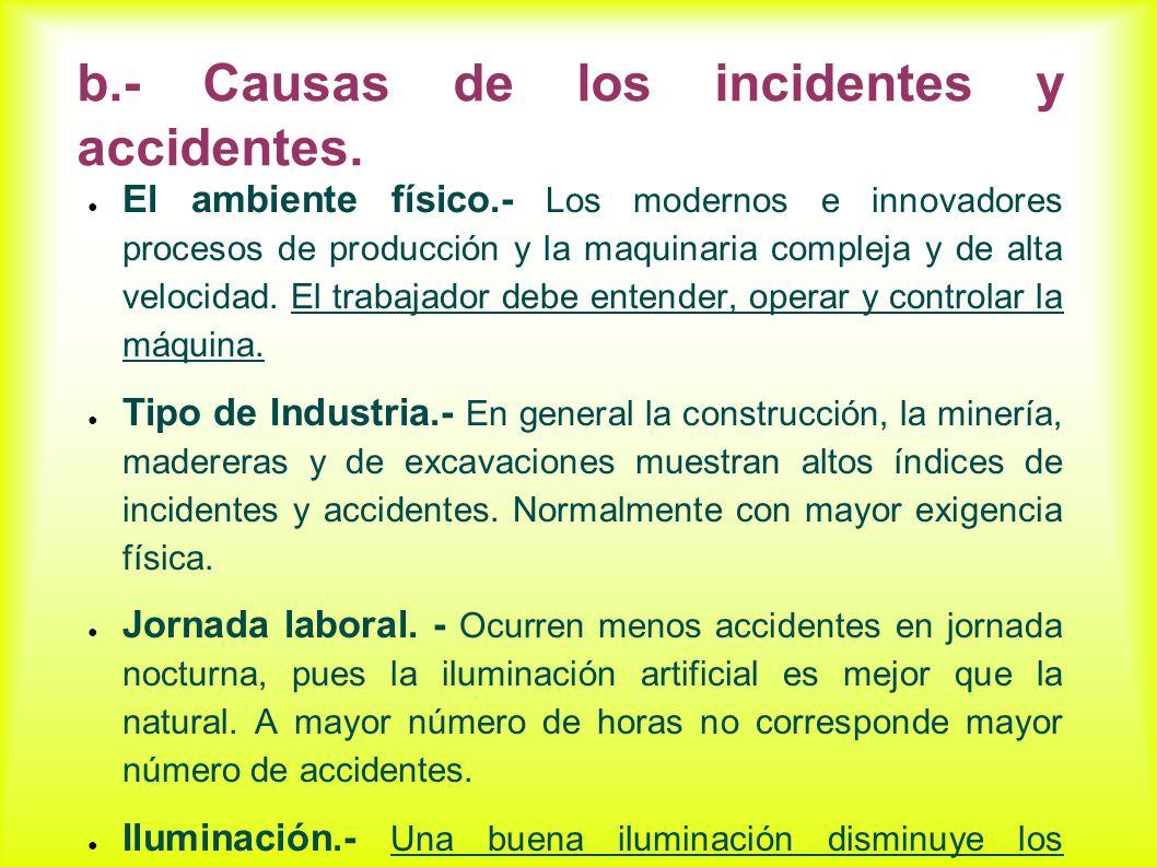 b.- Causas de los incidentes y accidentes. El ambiente físico.- Los modernos e innovadores procesos de producción y la maquinaria compleja y de alta v