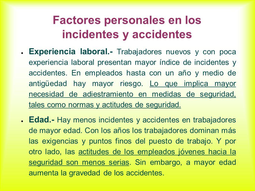 Factores personales en los incidentes y accidentes Experiencia laboral.- Trabajadores nuevos y con poca experiencia laboral presentan mayor índice de incidentes y accidentes.