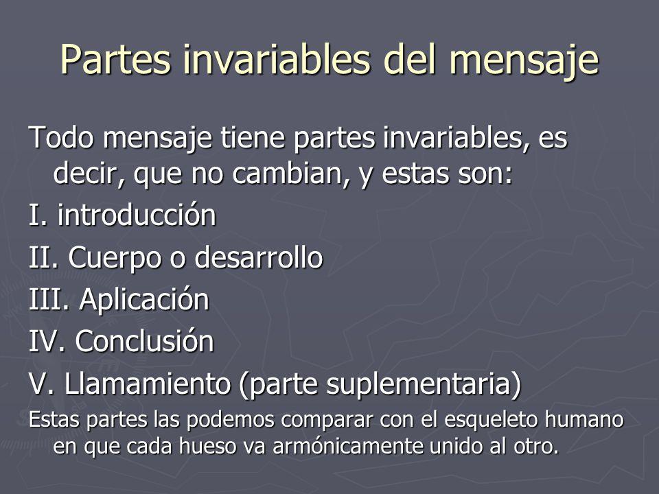 Partes invariables del mensaje Todo mensaje tiene partes invariables, es decir, que no cambian, y estas son: I.