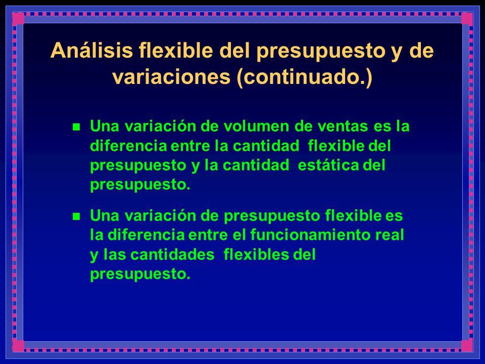 Análisis flexible del presupuesto y de variaciones (continuado.) Una variación de volumen de ventas es la diferencia entre la cantidad flexible del pr