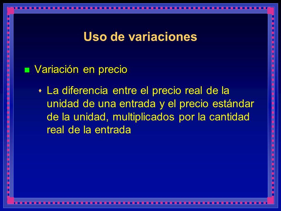 Uso de variaciones Variación en precio Variación en precio La diferencia entre el precio real de la unidad de una entrada y el precio estándar de la u